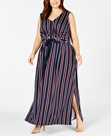 Love Squared Trendy Plus Size Striped Maxi Dress