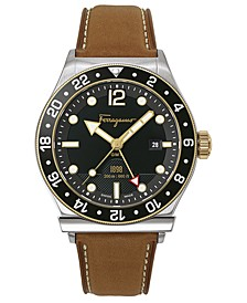Men's Swiss F-80 Brown Leather Strap Watch 44mm