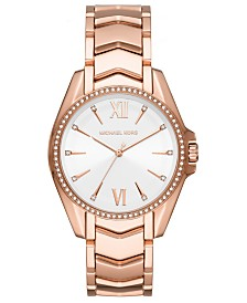 Michael Kors Women's Whitney Rose Gold-Tone Stainless Steel Bracelet Watch 38mm