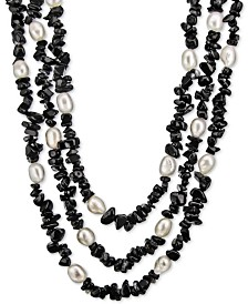 "Cultured Baroque Freshwater Pearl (8mm) & Gemstone 18"" Necklace in Sterling Silver"