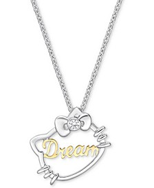"Diamond Accent Hello Kitty Dream 18"" Pendant Necklace in 18k Gold & White Gold"