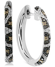 EFFY® Multi-Color Diamond Animal Print Hoop Earrings (3/8 ct. t.w.) in 14k White Gold