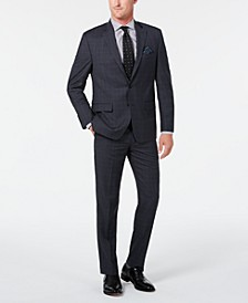 Men's Classic-Fit UltraFlex Stretch Gray/Blue Plaid Suit Separates