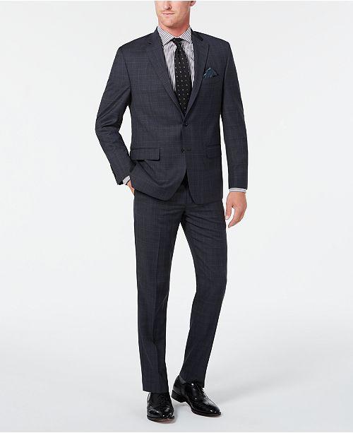 Lauren Ralph Lauren Men's Classic-Fit UltraFlex Stretch Gray/Blue Plaid Suit Separates