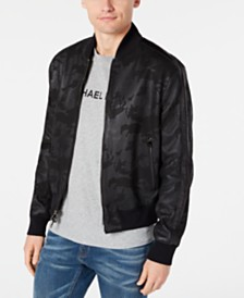 Michael Kors Men's Camouflage Perforated Leather Bomber Jacket, Created for Macy's