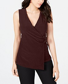 Petite Asymmetrical Wrap Top, Created for Macy's