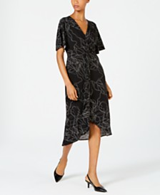 Alfani Printed Twist-Front Midi Dress, Created for Macy's