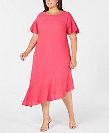 Plus Size Asymmetric Ruffled A-Line Dress, Created for Macy's