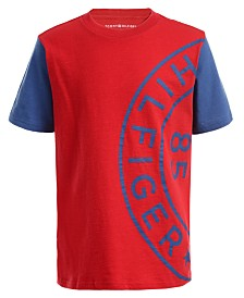 Tommy Hilfiger Big Boys Roundabout Colorblocked Textured Logo T-Shirt