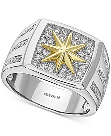 EFFY® Men's Diamond Pavé Star Ring (5/8 ct. t.w.) in 14k Gold & White Gold