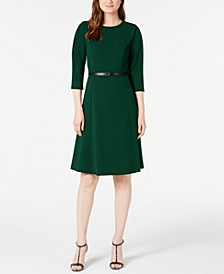 Belted Pleated-Sleeve Dress