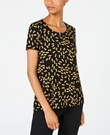 Anne Klein Dot-Print Crewneck Top
