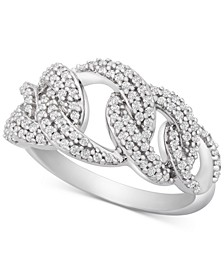 Diamond Interlocking Link Statement Ring (1/2 ct. t.w.) in Sterling Silver