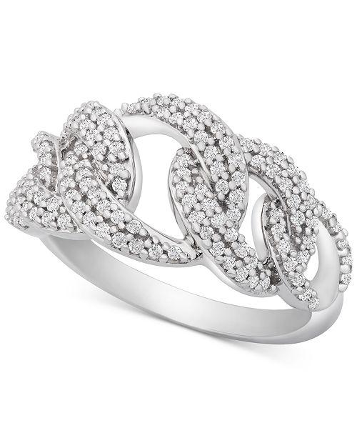 Macy's Diamond Interlocking Link Statement Ring (1/2 ct. t.w.) in Sterling Silver