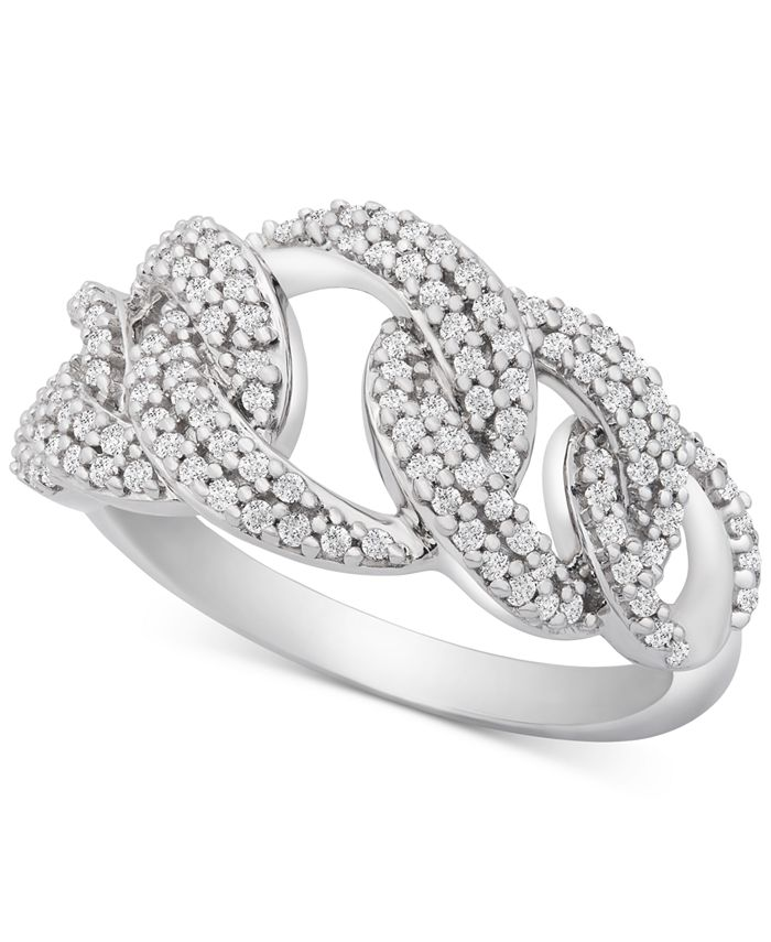 Macy's - Diamond Interlocking Link Statement Ring (1/2 ct. t.w.) in Sterling Silver