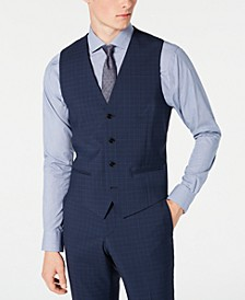 HUGO Hugo Boss Men's Slim-Fit Dark Blue Micro-Check Suit Vest