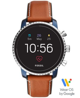 Fossil Men's Tech Explorist Gen 4 HR Brown Leather Strap Touchscreen Smart Watch 45mm, Powered by Wear OS by Google™