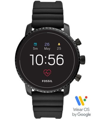 Fossil Men's Tech Explorist Gen 4 HR Black Silicone Strap Touchscreen Smart Watch 45mm, Powered by Wear OS by Google™