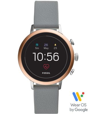 Fossil Women's Tech Venture Gen 4 HR Gray Silicone Strap Touchscreen Smart Watch 40mm, Powered by Wear OS by Google™