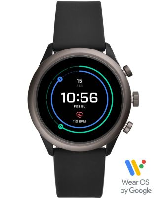 Fossil Men's Sport HR Black Silicone Strap Smart Watch 43mm, Powered by Wear OS by Google™