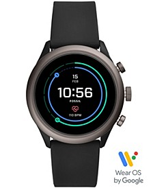 Men's Sport HR Black Silicone Strap Smart Watch 43mm, Powered by Wear OS by Google™