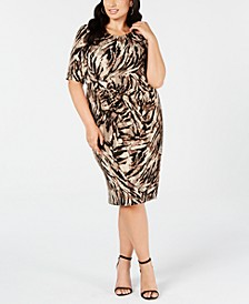 Trendy Plus Size Ruched Animal-Print Sheath Dress
