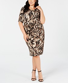 Connected Trendy Plus Size Ruched Animal-Print Sheath Dress