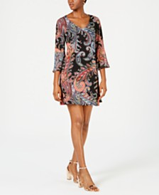 Connected Paisley Chiffon Bell-Sleeve Dress