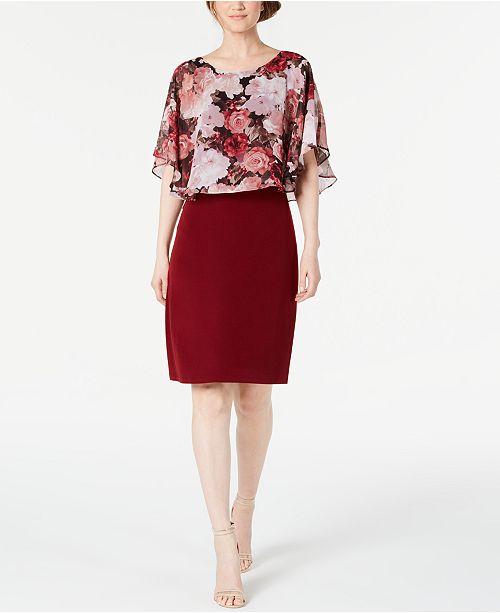 Connected Floral Chiffon Cape Dress