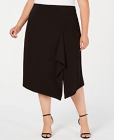 Calvin Klein Plus Size Ruffled Slit Skirt