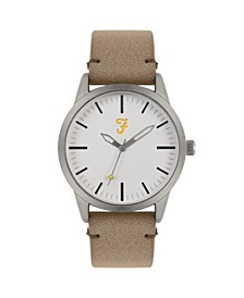 Men's the Classic Collection Sand Leather Strap Watch 42mm