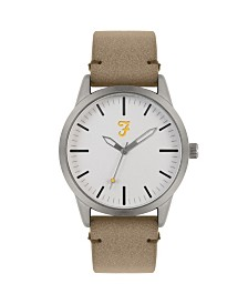 Farah Men's the Classic Collection Sand Leather Strap Watch 42mm