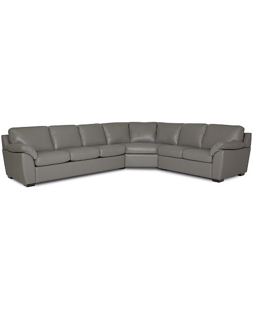 Lothan 3-Pc. Leather Queen Sleeper Sectional Sofa, Created for Macy\'s