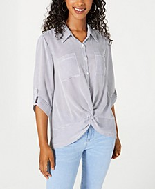 Juniors' Navy Mini-Stripe Twist-Front Button-Up Shirt