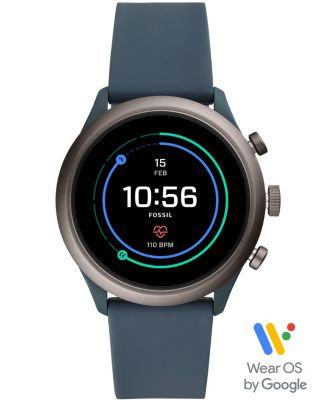 Fossil Men's Sport HR Smokey Blue Silicone Strap Smart Watch 43mm, Powered by Wear OS by Google™