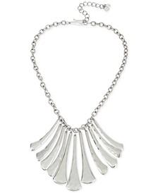 "Silver-Tone Sculptural Fan Statement Necklace, 17"" + 3"" extender"