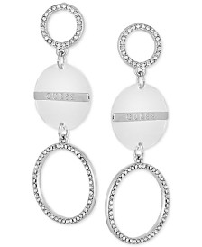 GUESS Silver-Tone & Clear Pavé Triple Drop Earrings