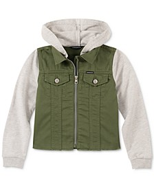 Big Girls Embroidered Layered Look Cotton Jacket
