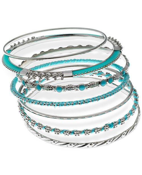 8f26d37739b79 Silver-Tone 7-Pc. Set Stone & Thread-Wrapped Bangle Bracelets, Created for  Macy's