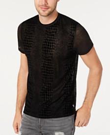 GUESS Men's Sheer Crocodile Pattern T-Shirt
