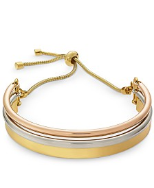 Alfani Tri-Tone Curved Bar Slider Bracelet, Created for Macy's