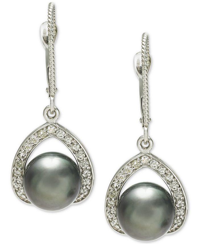 Macy's - Cultured Tahitian Pearl (8mm) & Diamond (1/3 ct. t.w.) Drop Earrings in 14k White Gold