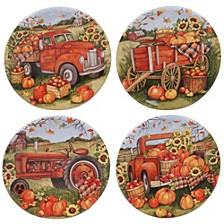 Harvest Bounty Round Canape Plate, Set of 4