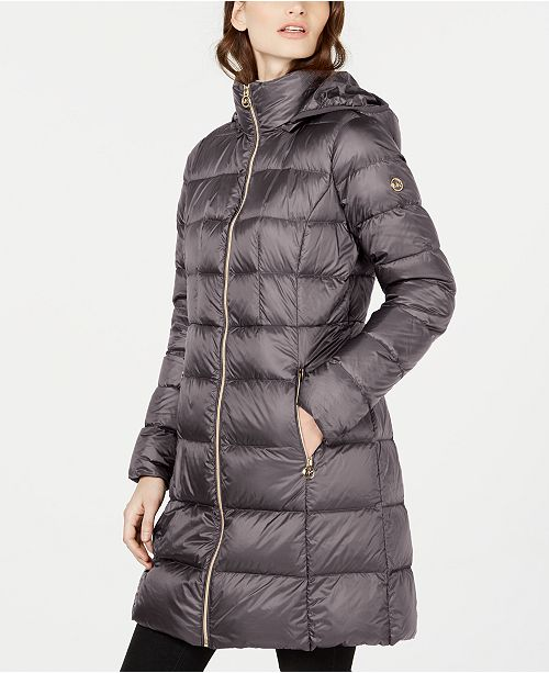 Michael Kors Hooded Long Packable Down Puffer Coat, Created for Macy's