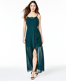 Juniors' Layered Cowlneck Gown