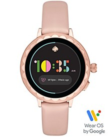 Women's Scallop Blush Leather Touchscreen Smart Watch 41mm, Powered by Wear OS by Google™