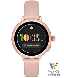 kate spade new york Women's Scallop Blush Leather Touchscreen Smart Watch 41mm, Powered by Wear OS by Google™