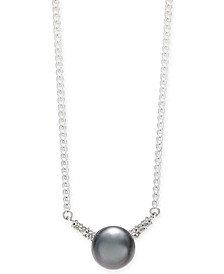 "Cultured Tahitian Pearl (9mm) & Diamond (1/8 ct. t.w.) 18"" Pendant Necklace in 14k White Gold"