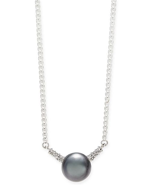 """Macy's Cultured Tahitian Pearl (9mm) & Diamond (1/8 ct. t.w.) 18"""" Pendant Necklace in 14k White Gold"""