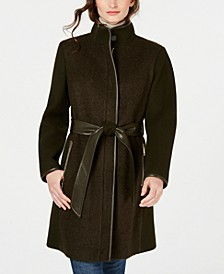Twill Wool Faux-Leather Trim Coat, Created for Macy's